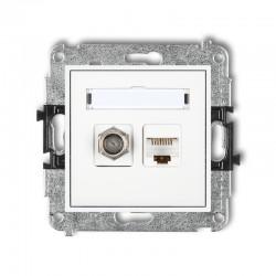 MINI Gniazdo antenowe typu F (SAT) + gniazda komputerowe 1xRJ45 kat. 5e biały MGFK-1
