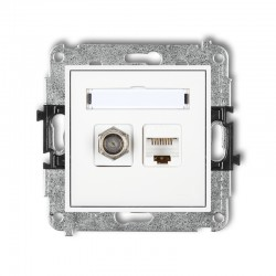 MINI Gniazdo antenowe typu F (SAT) + gniazda komputerowe 1xRJ45 kat. 6 ekranowany, 8-STYKOWY biały MGFK-5