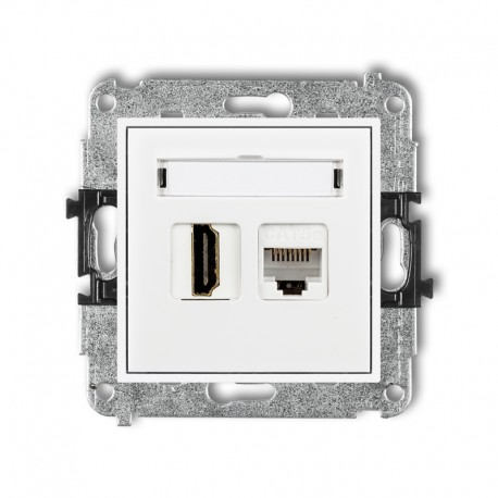 MINI Gniazdo pojedynczego HDMI + gniazdo komputerowe 1xRJ45 kat.5e 8-stykowy biały MGHK