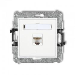 MINI Gniazdo komputerowe pojedyncze 1xRJ45 kat. 5e ekranowane 8-stykowy biały MGK-1e