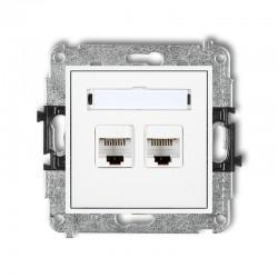 MINI Gniazda komputerowe podwójne 2xRJ45, kat. 5e, 8-stykowy biały MGK-2