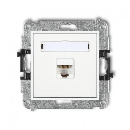 MINI Gniazdo komputerowe pojedyncze 1xRJ45 kat. 6 8-stykowy biały MGK-3