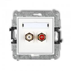 MINI Gniazdo podwójne RCA (typu cinch - biały i czerwony pozłacany) biały MGRCA-2