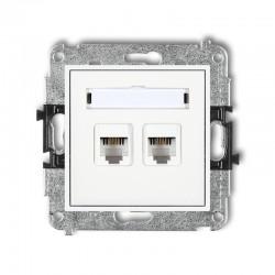 MINI Mechanizm gniazda telefonicznego podwójnego 2xRJ11, 4-stykowy, beznarzędziowy MGT-2