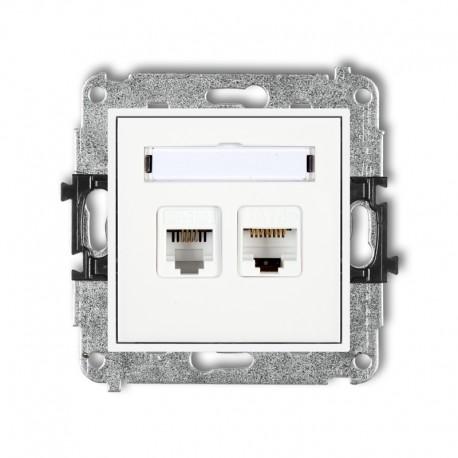 MINI Gniazdo telefoniczne RJ11 + gniazdo komputerowe RJ45 kat. 5e 8-stykowy beznarzędziowy białe MGTK
